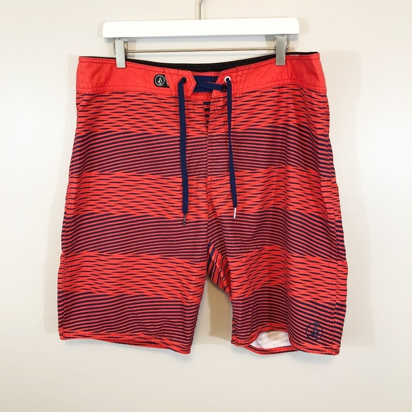 2889081a7c Volcom Swim | Board Shorts Mens Red Navy Striped 36 | Poshmark